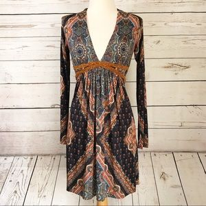 Sky Brand Paisley Scarf Print Long Sleeve Dress